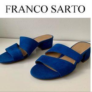 Franco Sarto Sandals Tallen Suede Slide 8.5 Blue